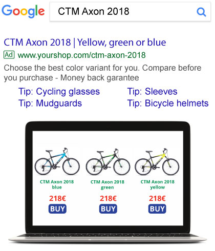 Product Group text ad in Google search