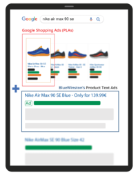 Shopping ads and Text ads for products together in Google Search