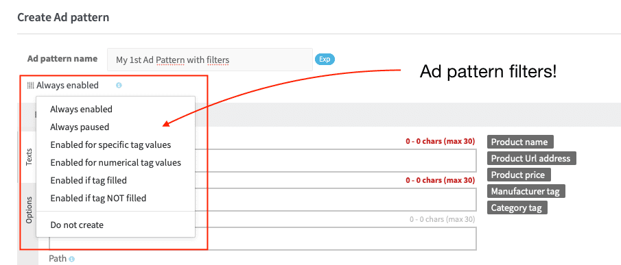 Ad pattern filters for Product text ads on Google Search